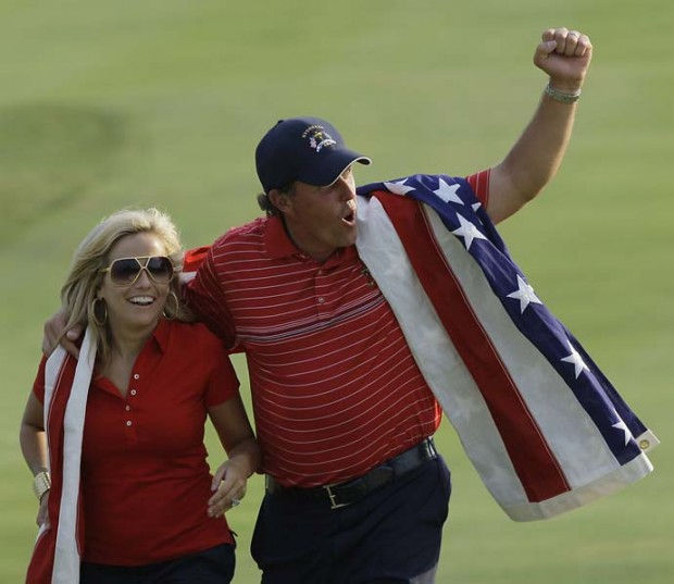 Phil with His Wife Amy After Winning 2008 Ryder Cup
