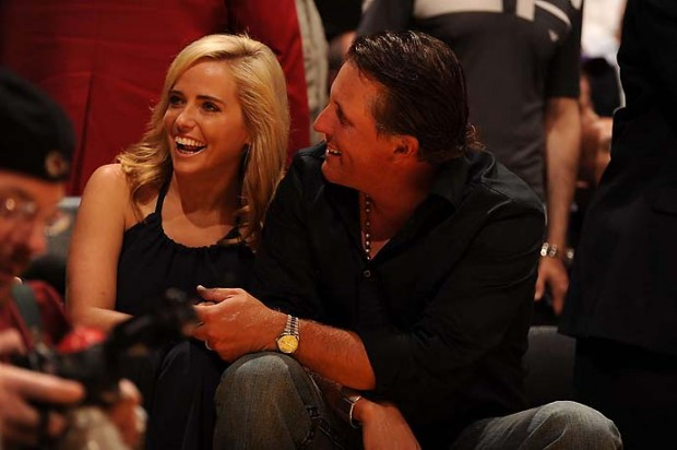 Phil Mickelson and his wife Amy at a Rockets-Lakers playoff game