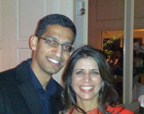 Sundar Pichai and his wife Anjali Pichai