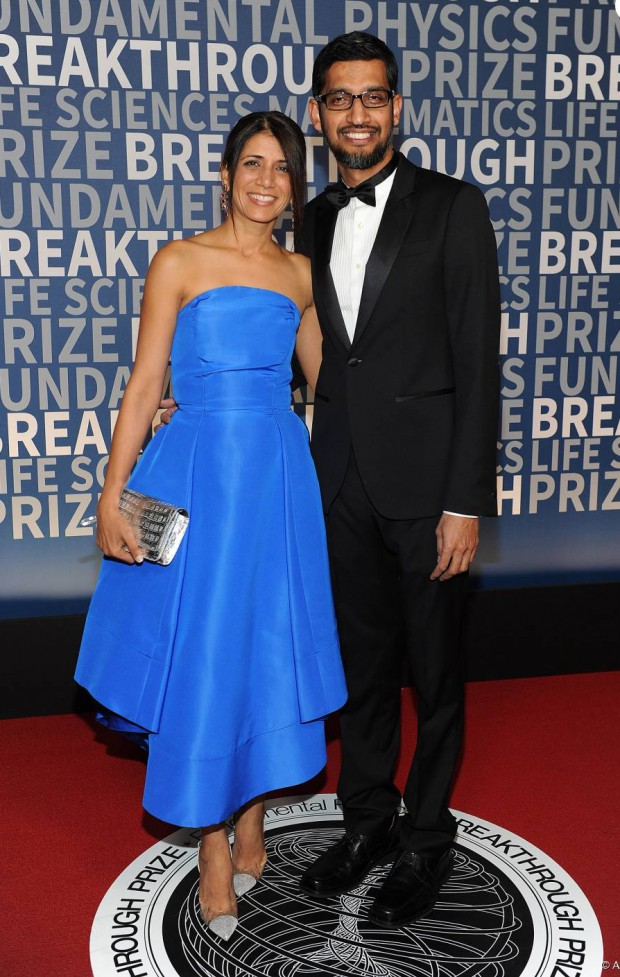 Google CEO Sundar Pichai and his wife Anjali at Breakthrough prize cermony