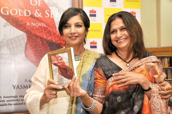 Azim Premji's wife Yasmeen with Shabana Azmi during Yasmeen's book launch