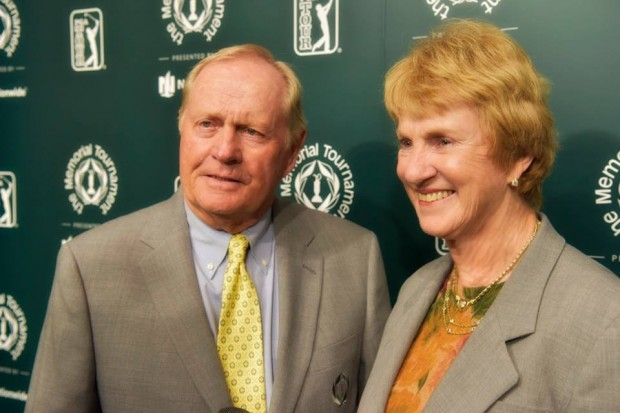 Jack with his wife at Memorial Tournament Press Conference