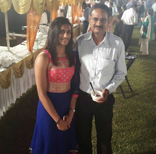 PV Ramana with his proud daughter Sindhu