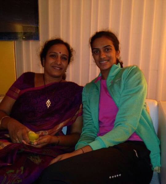 Sindhu and her mom in Australia during Australian Open