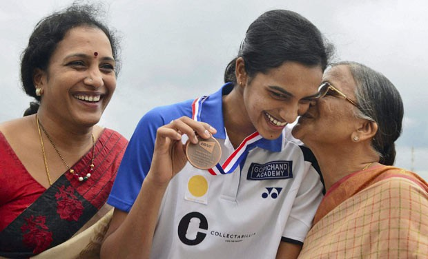 Sindhu with her mom and grand mom