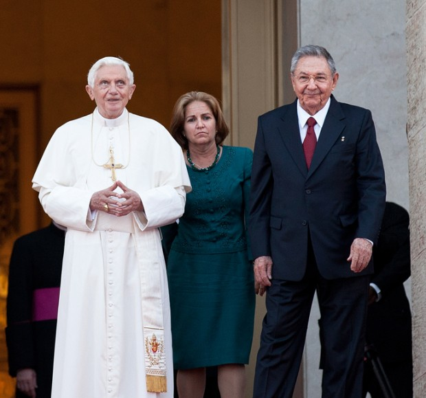Raul Castro and His Wife Vilma Espín with BENEDICT XVI