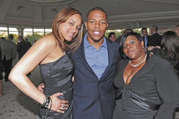 Ray Rice with wife Janay Palmer and mother Janet Rice