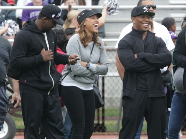 Ray Rice and his wife Janay Rice attend Ramapo and New Rochelle football game