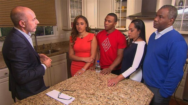 Ray Rice in an interview along with his wife Janay and her parents