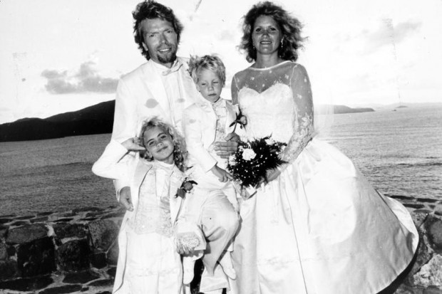 Branson on his wedding day with wife Joan and kids Sam and Holly