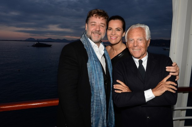 Giorgio Armani with His Niece Roberta Armani and Russell Crowe