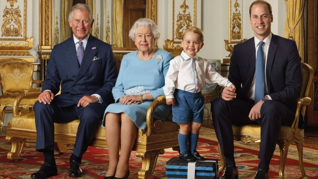 4 Generations of Royal Family, Prince Charles, Queen Elizabeth, Prince George and Prince William