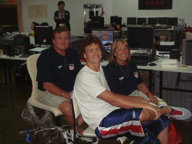 Ryan with his parents Steven and Ileana Lochte