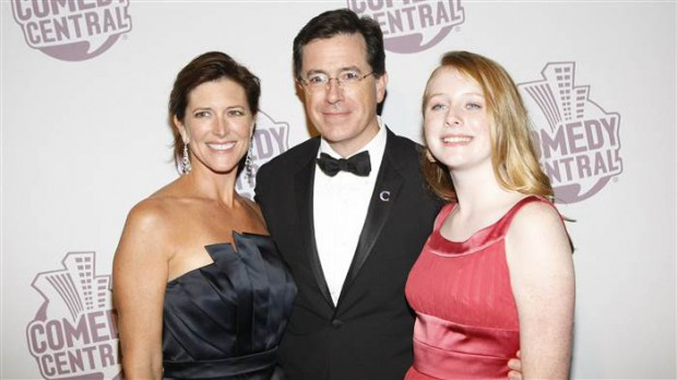 Stephen with his wife and his daughter at Comedy Central event