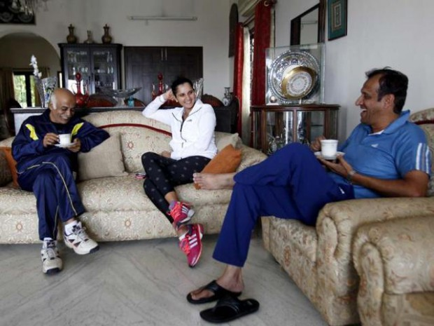 Sania with her dad and her uncle