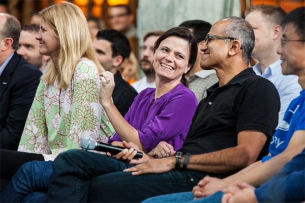 Satya Nadella with his wife