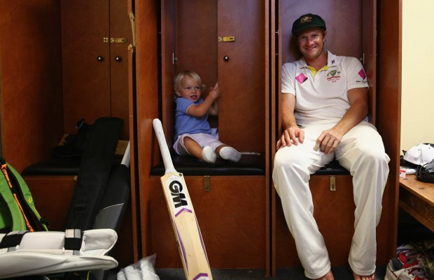 Shane Watson with His Son William in SCG Dressing Room