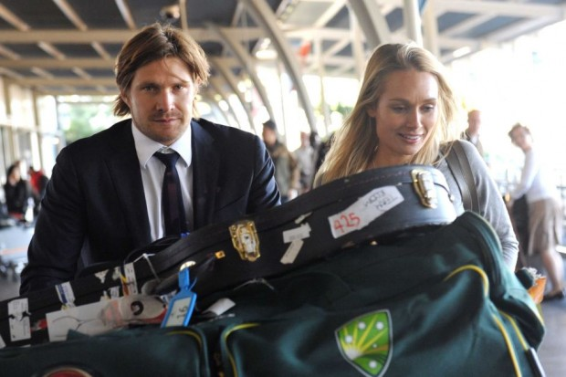 Shane Watson with His Wife at Sydney Airport