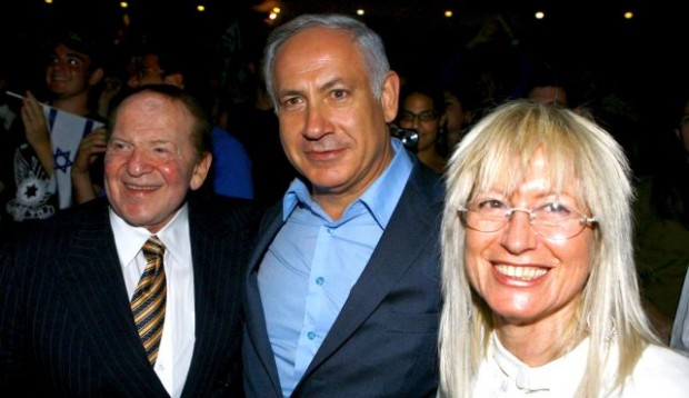 Prime Minister Benjamin Netanyahu with Sheldon and Sheldon's wife