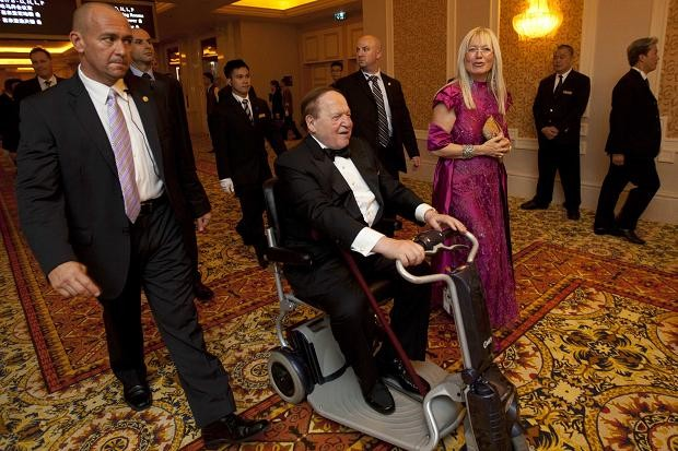 Sheldon Adelson and his wife, Miriam, at his new hotel in Macau