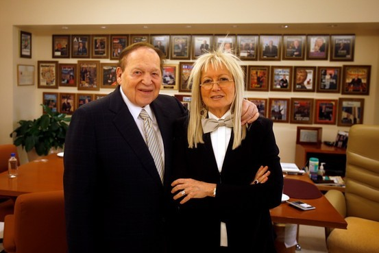 Sheldon Adelson with his wife, Miriam Adelson, at his office at the Venetian