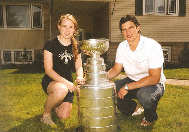 Sidney Crosby and his sister Taylor Crosby with Stanley Cup