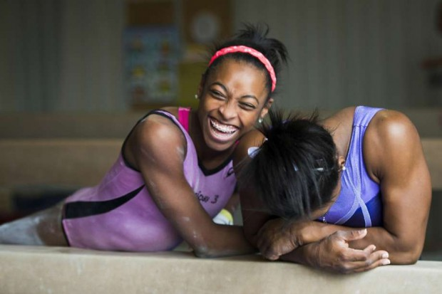 Simone Biles laughs along with her sister Adria