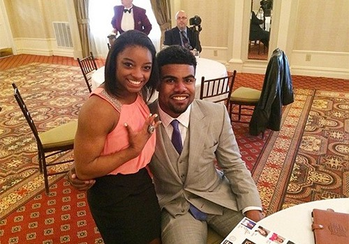 Simone Biles with her brother Ron Biles Jr.