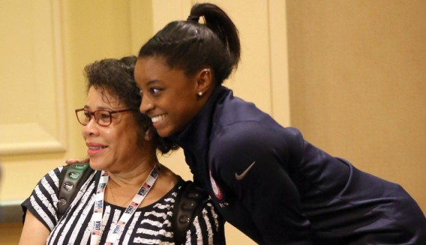 Simone Biles with her mom Nellie Biles