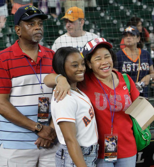 Simone Biles with her parents Ronald and Nellie Biles