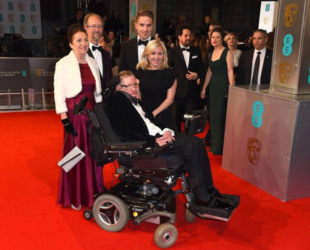Stephen Hawking and his family at BAFTA awards