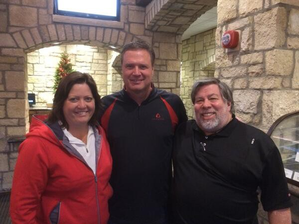 Steve Wozniak and Janet Hill with Jayhawk coach Bill Self