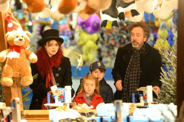 Tim Burton With his Wife and Children