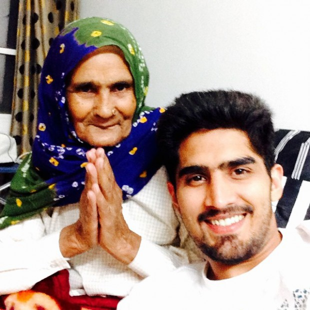 Vijender Singh with his grand mother