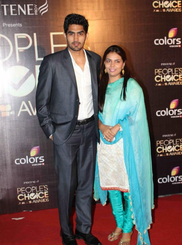 Vijender and his wife Archana at an event
