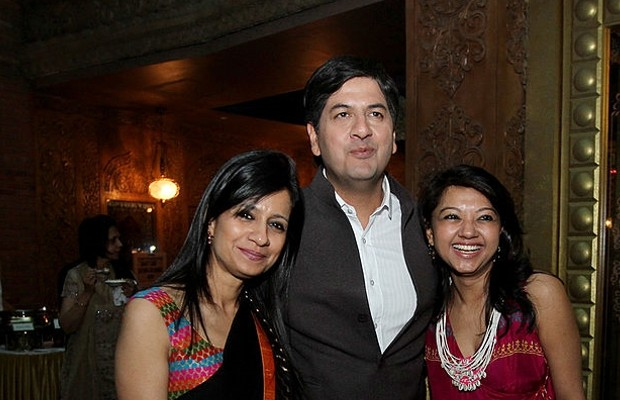 Vikram Chandra and His Wife Seema Chandra with Fashion Designer Anupama Dayal