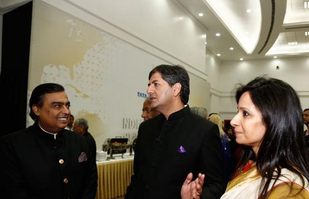 Vikram and His Wife Seema Chandra with Mukesh Ambani