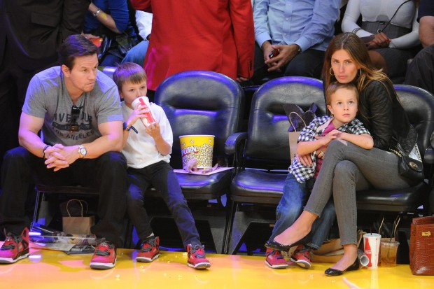 Mark Wahlberg with His Family watching a Game
