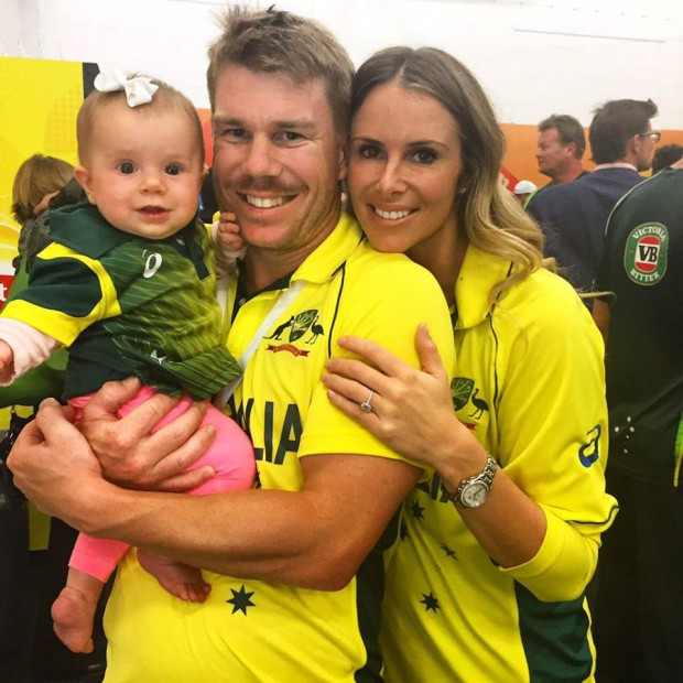 David Warner couple with their child