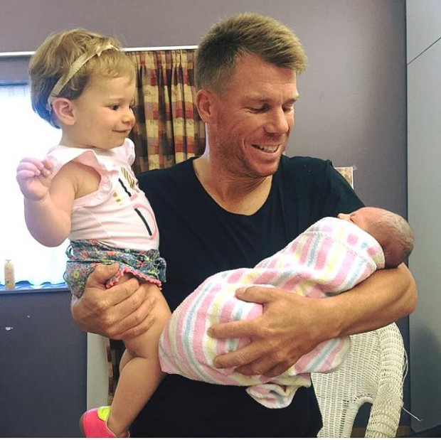 Daddy with his little girls Ivy Mae and Indi Rae Warner