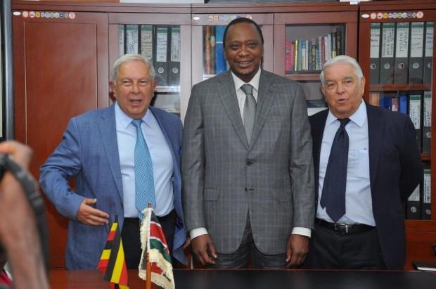 President Uhuru Kenyatta with YK Hamied and his brother MK Hamied