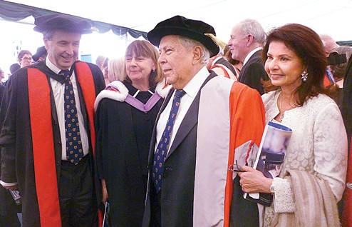 Frank Kelly and his wife with Yusuf Hamied and his wife