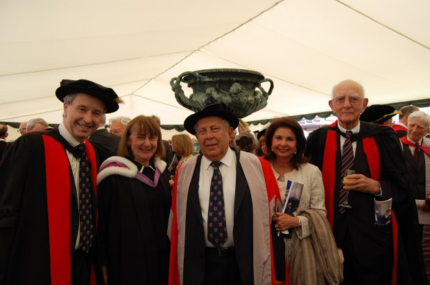 Yusuf Hamied and his wife Farida ar his doctorate event