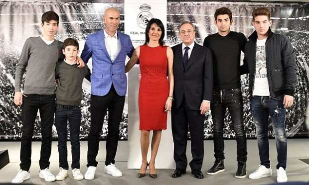 Real Madrid President with Zidane and Family