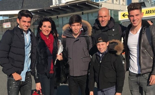 Zidane with his wife Véronique and Sons Theo, Elyaz, Enzo and Luca