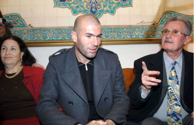 Zidane with his mom Malika and father Smail Ziadane