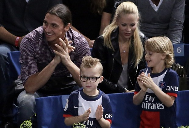 Ibra with his girlfriend and sons