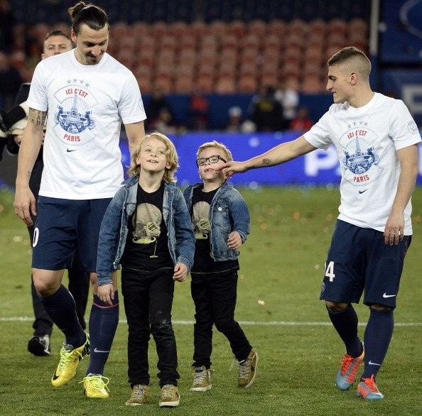 Maximilian and Vincent with their dad Zlatan Ibrahimovic