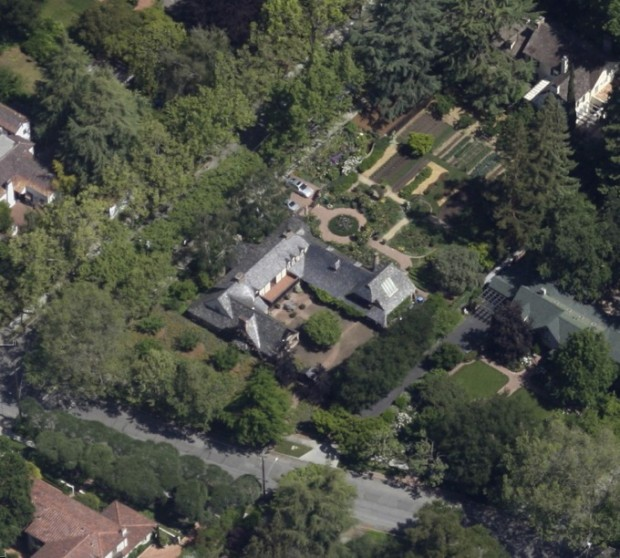 Aerial View of His House in Palo Alto