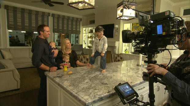 Drew Brees with his family in New Orleans house for CBS interview